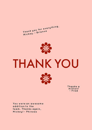 red minimalist group thank you card Group Thank You Card