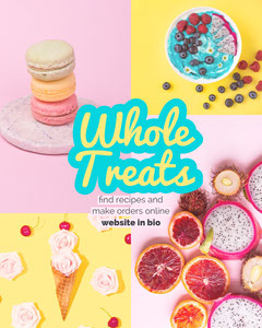 Pastel Colored Bakery Instagram Portrait Ad with Collage Bakery