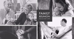 Black and White Family Reunion Announcement Facebook Post Graphic with Collage Family Reunion