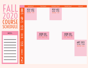 Pink and Orange Modern Timetable Timetable Maker