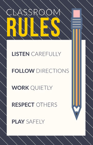 Grey and White, Light Toned, Classroom Rules Poster Classroom Poster