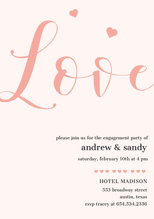 Orange Elegant Calligraphy Engagement Party Invitation Card Engagement Invitation