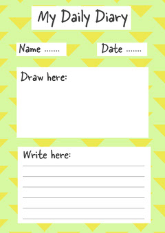 Green and Yellow My Daily Diary A4 Worksheet Teacher