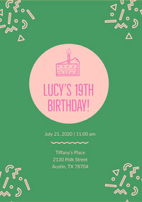 Green and Pink Birthday Invitation 誕生会の招待状