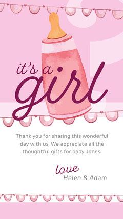 Pink Baby Bottle Illustration Gender Reveal Instagram Story Gender Reveal Flyer