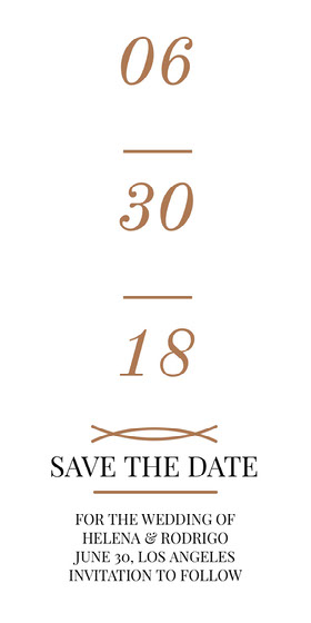 Brown Save the Date Wedding Invitation Card Save the date-kaart