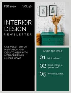 Green and Black Interior Design Newsletter Designer