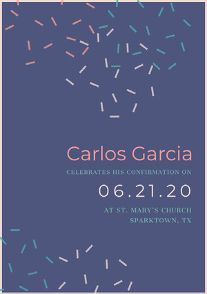 Violet and Pink Communion Invitation Confirmation Annoucement