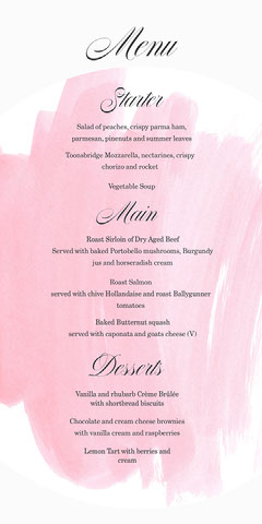 Pink Paint Stroke and Calligraphy Wedding Menu Paint