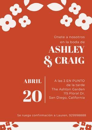 orange and white floral wedding cards  Invitación de boda