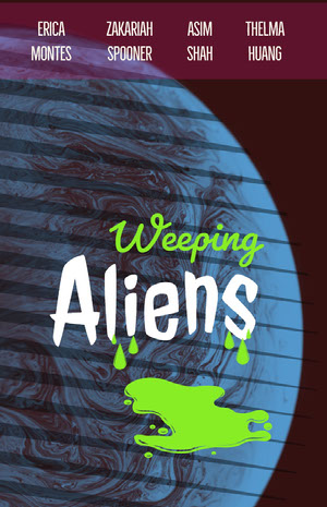 Blue White and Green Weeping Aliens Promo Movie Poster