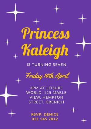 Purple Sparkling Princess Girl's Birthday Party Invitation Card Princess Invitation