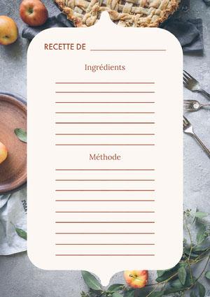 Autumnal Recipe Card A4 Fiche de recette