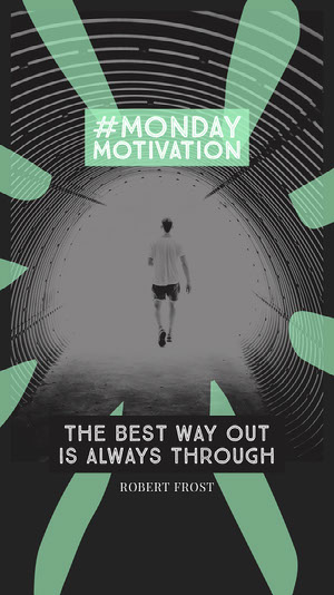 Blue Black and White Monday Motivation Social Post Motiverende poster