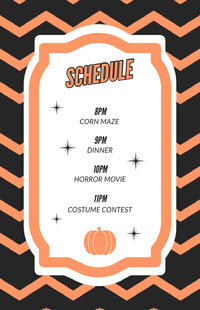 Orange Zig Zag Halloween Party Schedule Fête d'Halloween