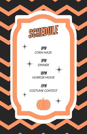 Orange Zig Zag Halloween Party Schedule Halloween Party