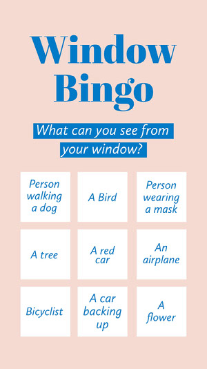 Blue and Pink Coronavirus Quarantine Bingo Card ビンゴカード