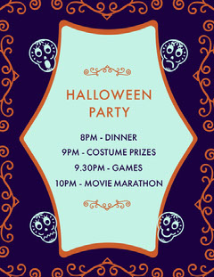 Purple Sugar Skulls Halloween Party Schedule Halloween Party Schedule