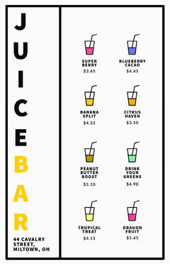 Multicolored Illustrated Juice Bar Menu Drink Menu