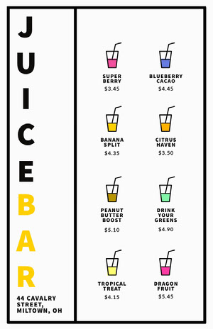 Multicolored Illustrated Juice Bar Menu Drink Menu