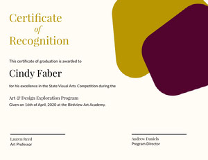 Certificate <BR>Recognition