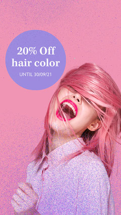 Pink Glitter 20% Off Hair Colour Instagram Story Confetti