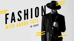 Yellow and Gray Fashion Youtube Channel Art with Male Model Fashion Show