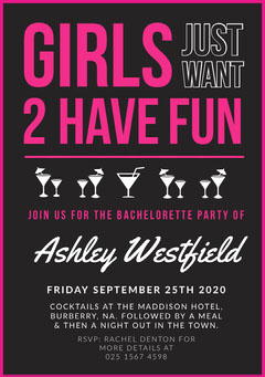 Pink, Black and White, Bechelorette Party Invitation Card Cocktails