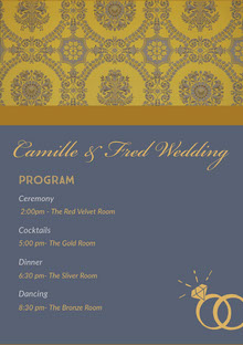 Yellow and Blue Wedding Ceremony Program Programa de bodas