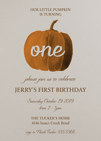 White and Orange Halloween Themed First Birthday Party Invitation 1st Birthday Invitation