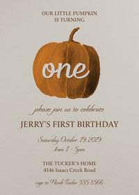 White and Orange Halloween Themed First Birthday Party Invitation 첫 번째 생일 초대장