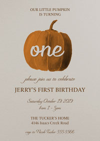 pumpkin birthday card first birthday card 1st Birthday Invitation