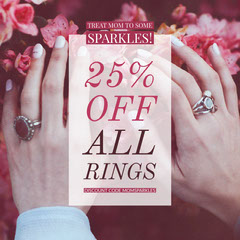 Pink Jewelry Store Mothers Day Sale Ad with Hands with Rings and Flowers and Coupon Code Jewelry