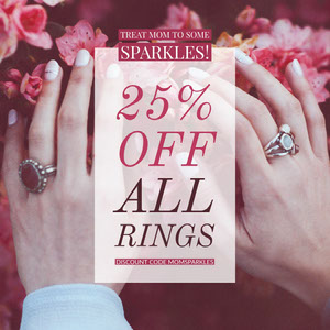 Pink Jewelry Store Mothers Day Sale Ad with Hands with Rings and Flowers and Coupon Code Bon