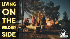 Camping Youtube Thumbnail with People Around Campfire Adventure