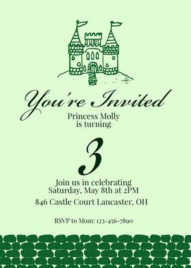Green Castle Princess Invitation Invitation d'anniversaire
