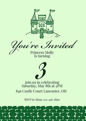 Green Castle Princess Invitation Princess Invitation