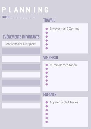 Purple Daily Planner A4   Agenda journalier