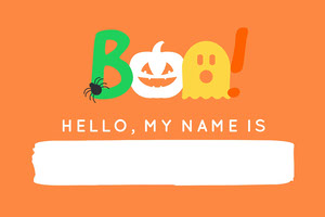 Orange and White Boo Costume Halloween Party Name Tag Nimikortti