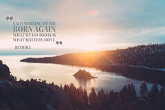 Light Toned Inspiration Quote and Landscape Postcard Landscape