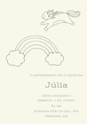 rainbow unicorn birthday cards  Convite de aniversário de unicórnio