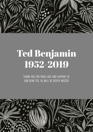 Ted Benjamin 1952-2019 Funeral Thank You Card