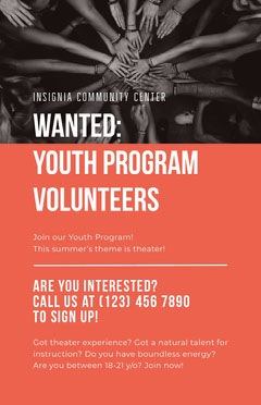 Red and White Youth Volunteers Poster Volunteer