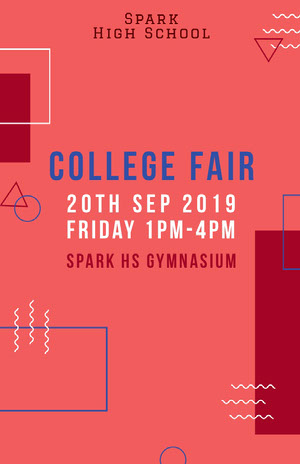 Pink and White College Fair Social Post Pink Flyers