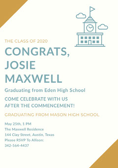 Blue Graduation Announcement Card Back to School