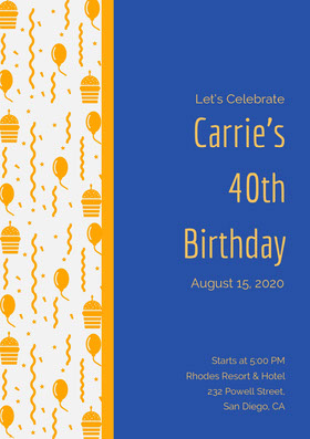 Carrie's <BR>40th <BR>Birthday  Invitation d'anniversaire