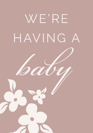 Beige Elegant Floral Pregnancy Announcement Card Pregnancy Announcement