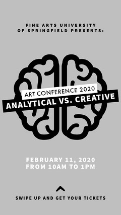 Black and White Art Conference Instagram Story Event Ticket