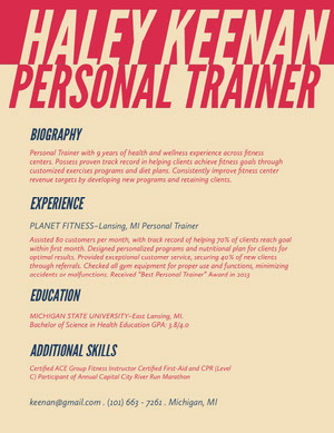 Pin and White Personal Trainer Resume  perfil profissional