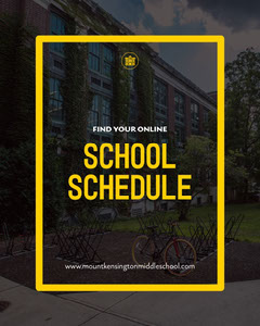 Black yellow online school schedule - instagram portrait Back to School